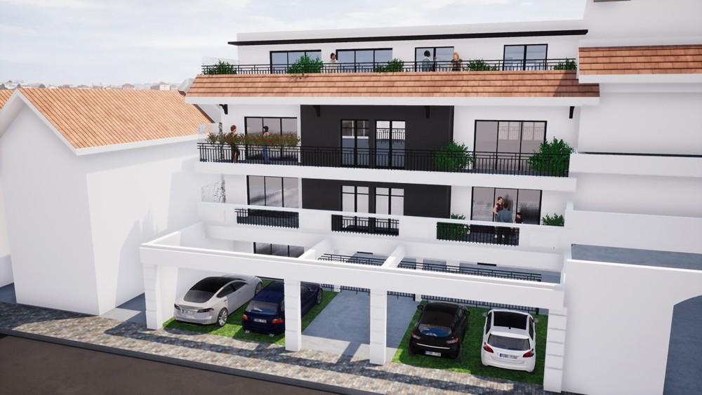 Façade sud 3D de la résidence neuve Villa Annabella à Arcachon