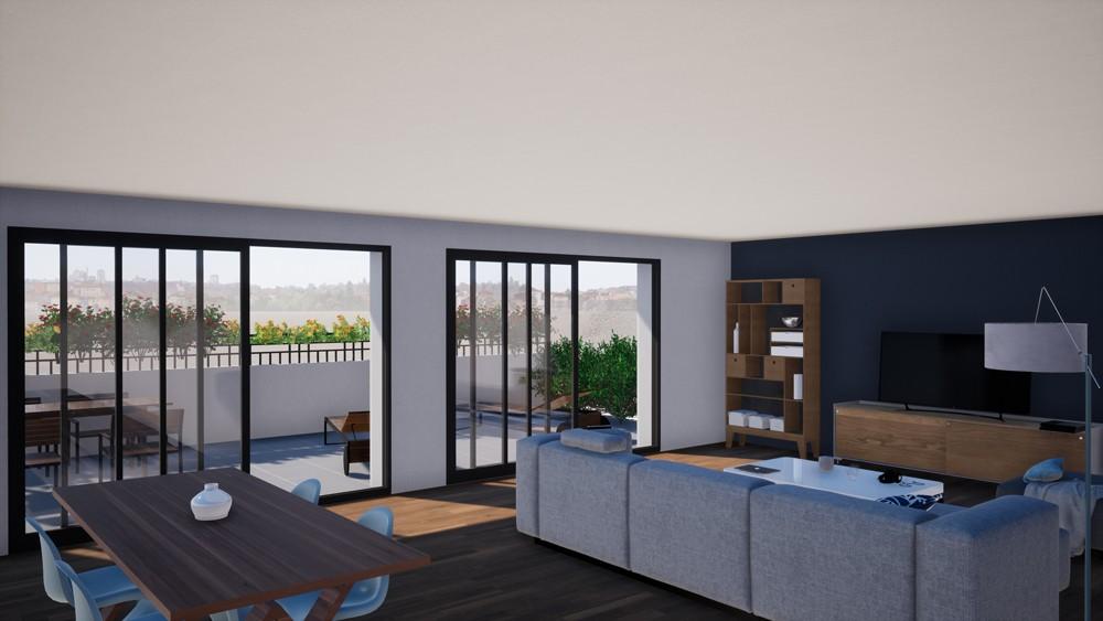 Intérieur 3D d'un salon de la résidence neuve la Villa Annabella à Arcachon