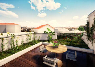 Plan 3D terrasses Villa Etchenique à Bordeaux Caudéran